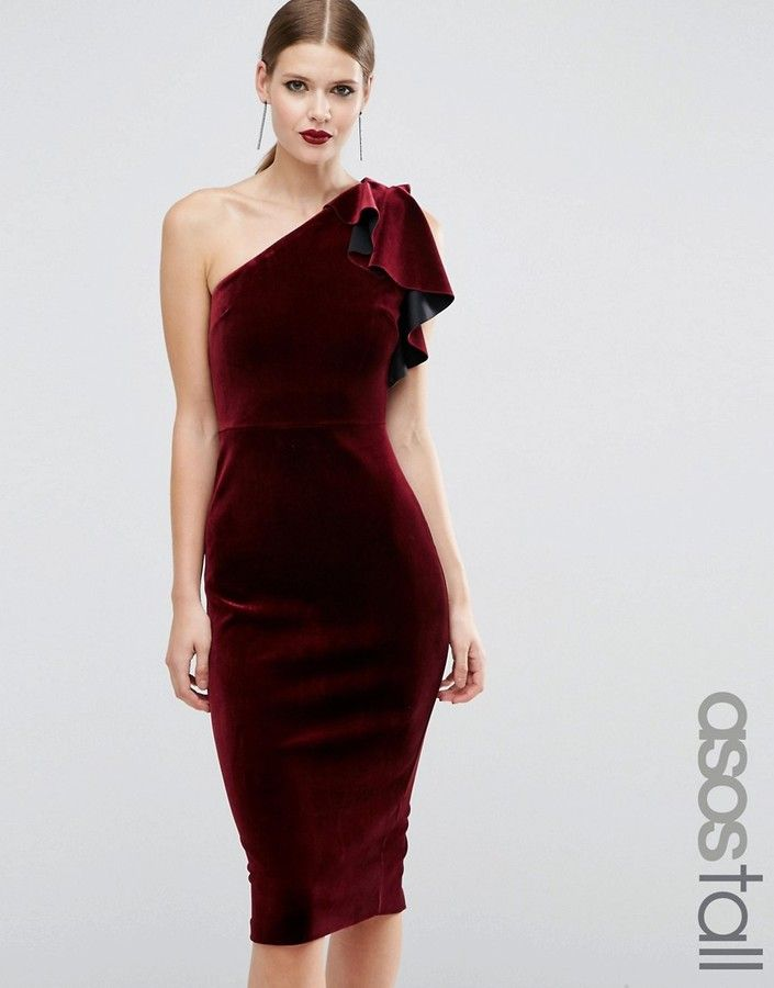 68edfdd5097 ASOS Tall ASOS TALL PREMIUM Velvet One Shoulder Ruffle Midi Dress ...