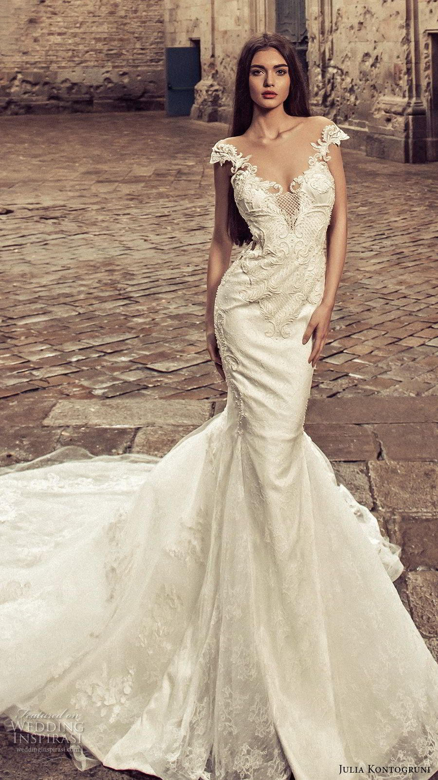 Lace wedding dress with cap sleeves sweetheart neckline  Julia Kontogruni  Wedding Dresses u ucBarcelonaud Bridal