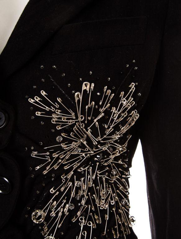 Moschino Punk Safety Pin embellished black coat
