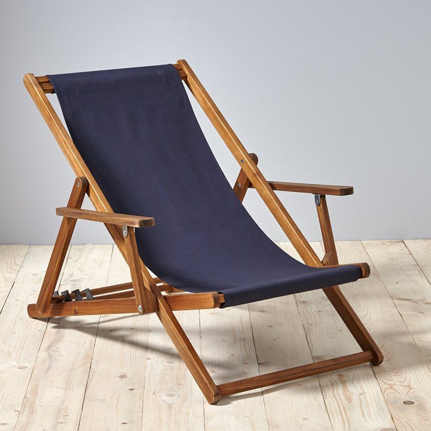 une chilienne bleue marine en bois fonc chaise longue transat outdoor mobilier - Chaise Longue Transat