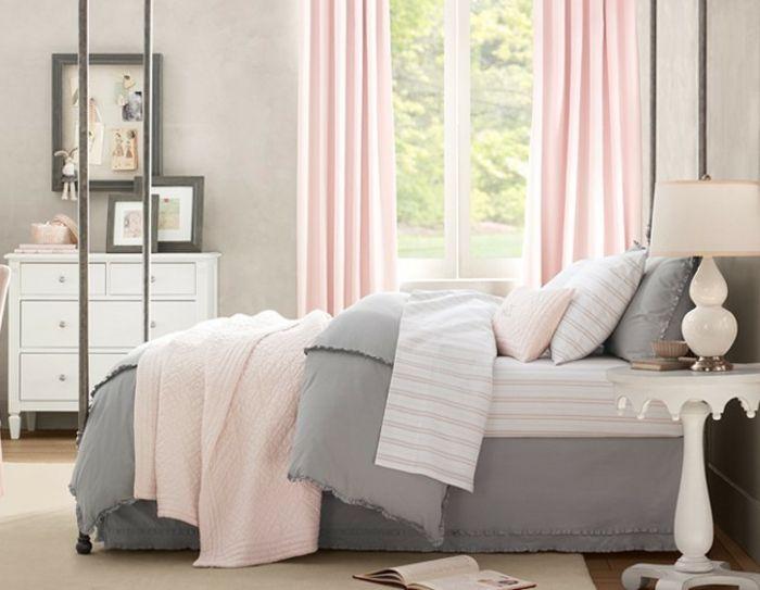 Schlafzimmer Weis Rosa #19: Sehr Sch Nes Schlafzimmer Mit Rosa Wandfarbe Und Wandfarbe Grau