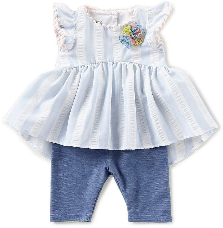 17b8007c0e3 Pastourelle by Pippa   Julie Baby Girls Newborn-24 Months Striped Flower- Applique Top