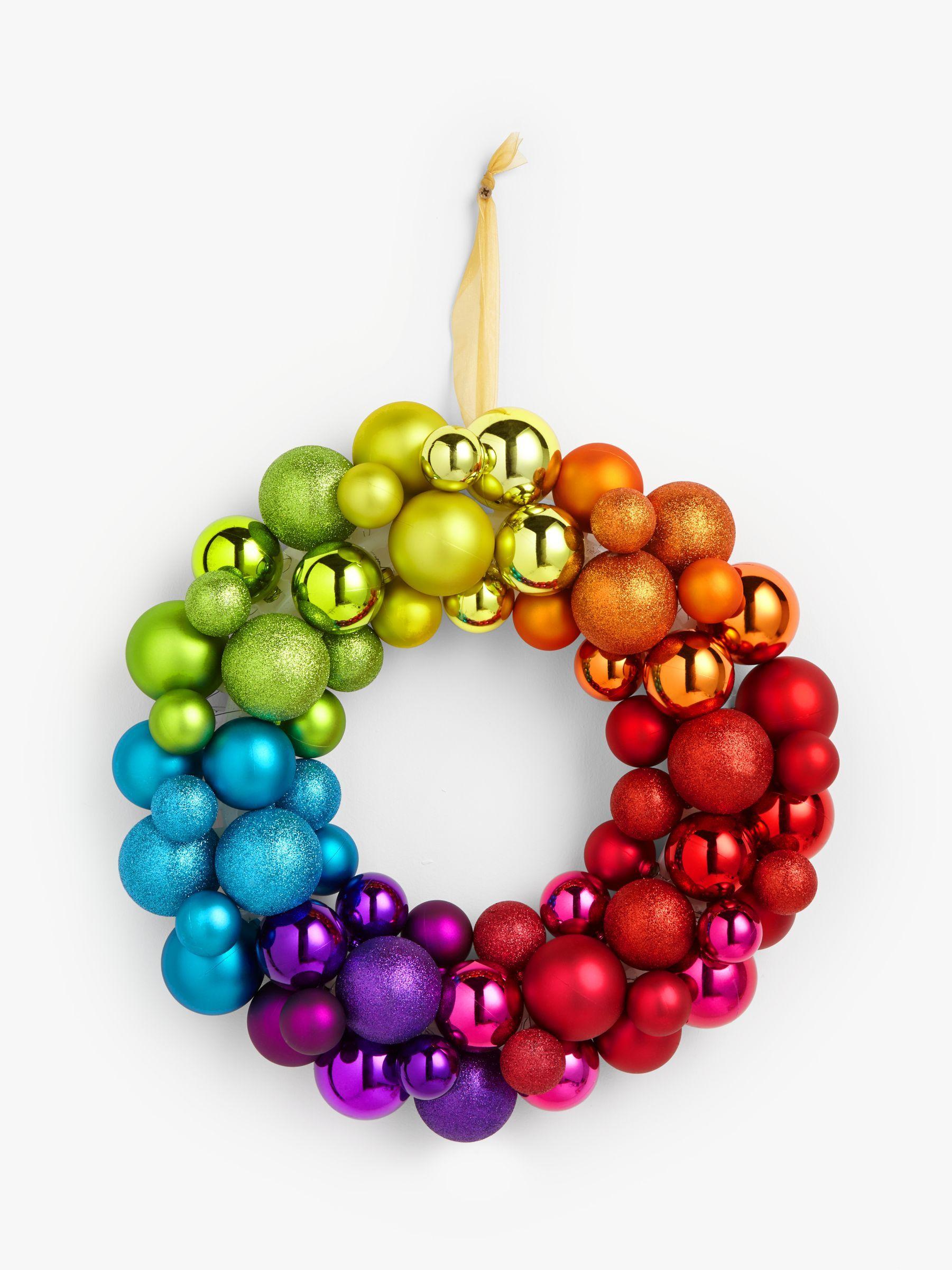John Lewis & Partners ABC Rainbow Bauble Wreath, Multi
