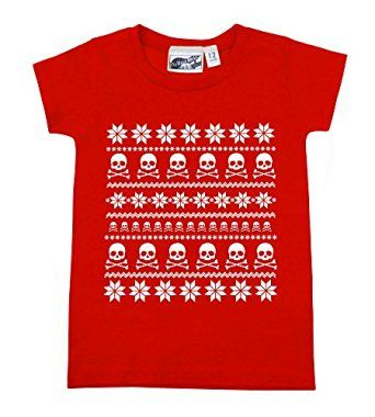 Fair Isle Skull Ugly Sweater Christmas Red & White Baby Toddler T ...