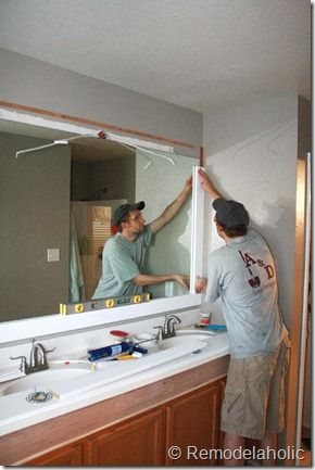 Framing A Large Bathroom Mirror Neutral Paint W Small Purple Accents Paint Frame Purple Large Bathroom Mirrors Bathroom Mirror Makeover Bathroom Mirrors Diy