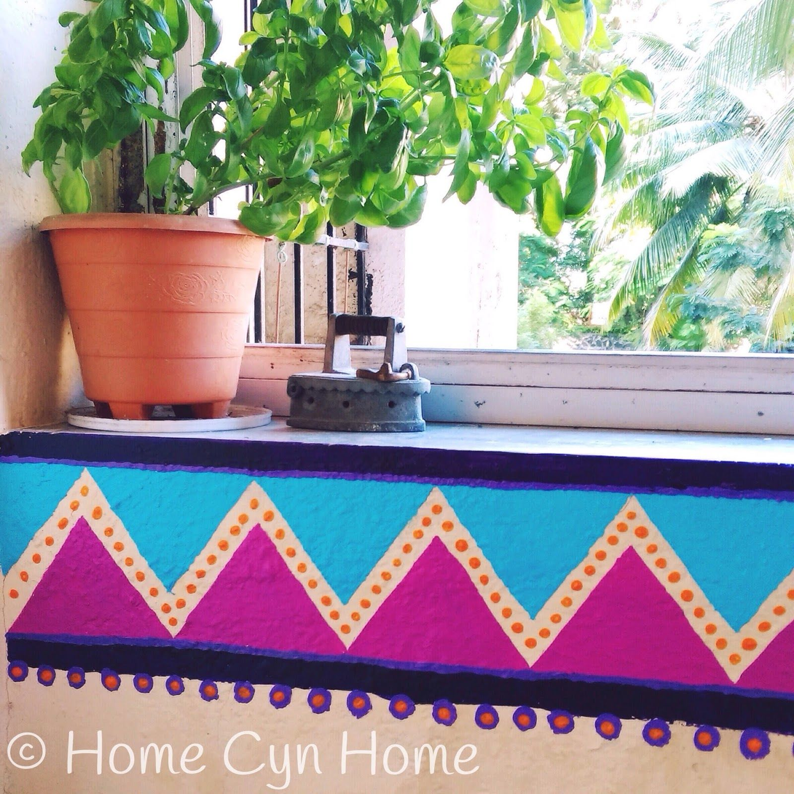 Diy Groovy Geometric Wall Border Garden Decor Projects Diy Wall Painting Wall Borders
