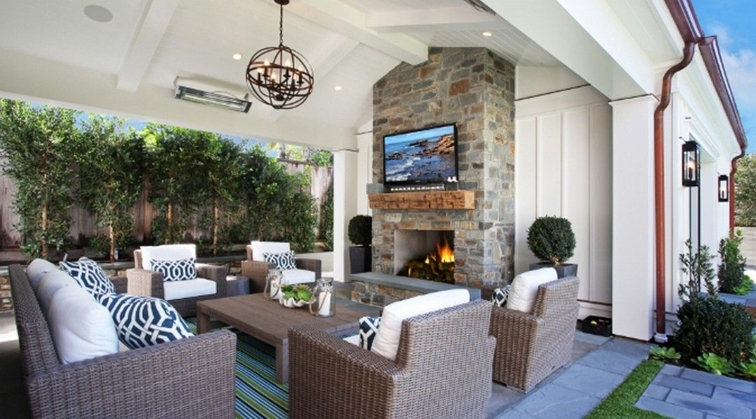 7 An Inspiring Outdoor Living Room Design In 2020 Outdoor Fireplace Designs Outdoor Covered Patio Patio Fireplace