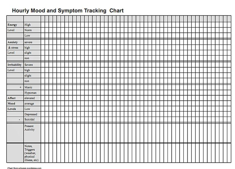 Hourly Mood and Symptom Chart – Mood Chart Form