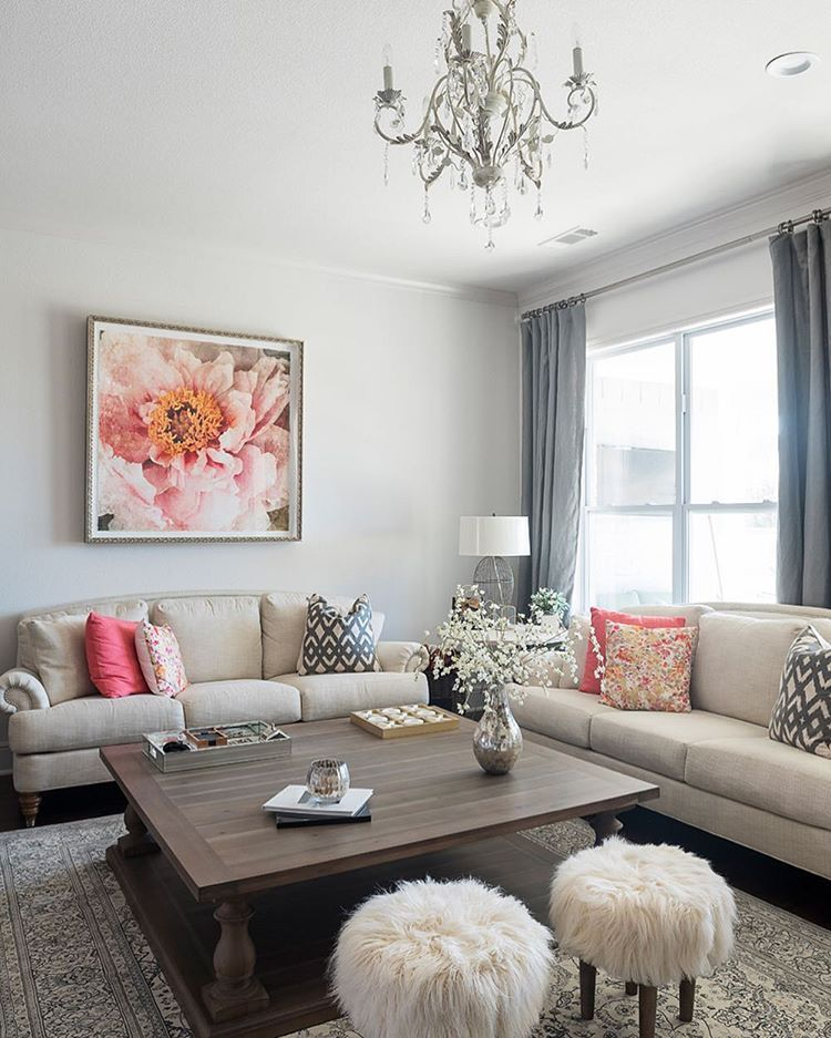 Family Rooms We Love: Traditional Meets Glam In This Creme And Peach Living Room