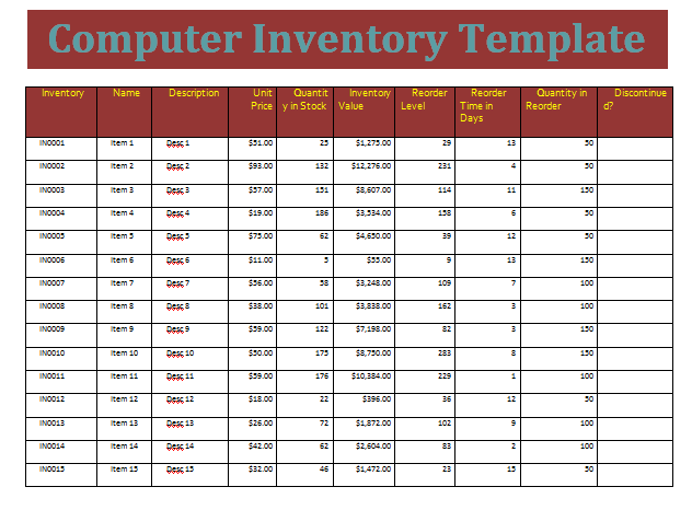 Computer Inventory Template  WordstemplatesOrg