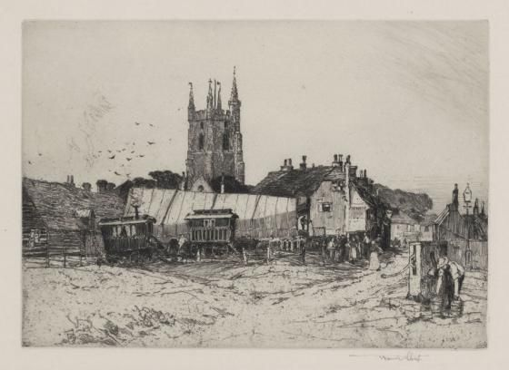 Strolling Players, Lydd etching by Sir Frank Short 1907