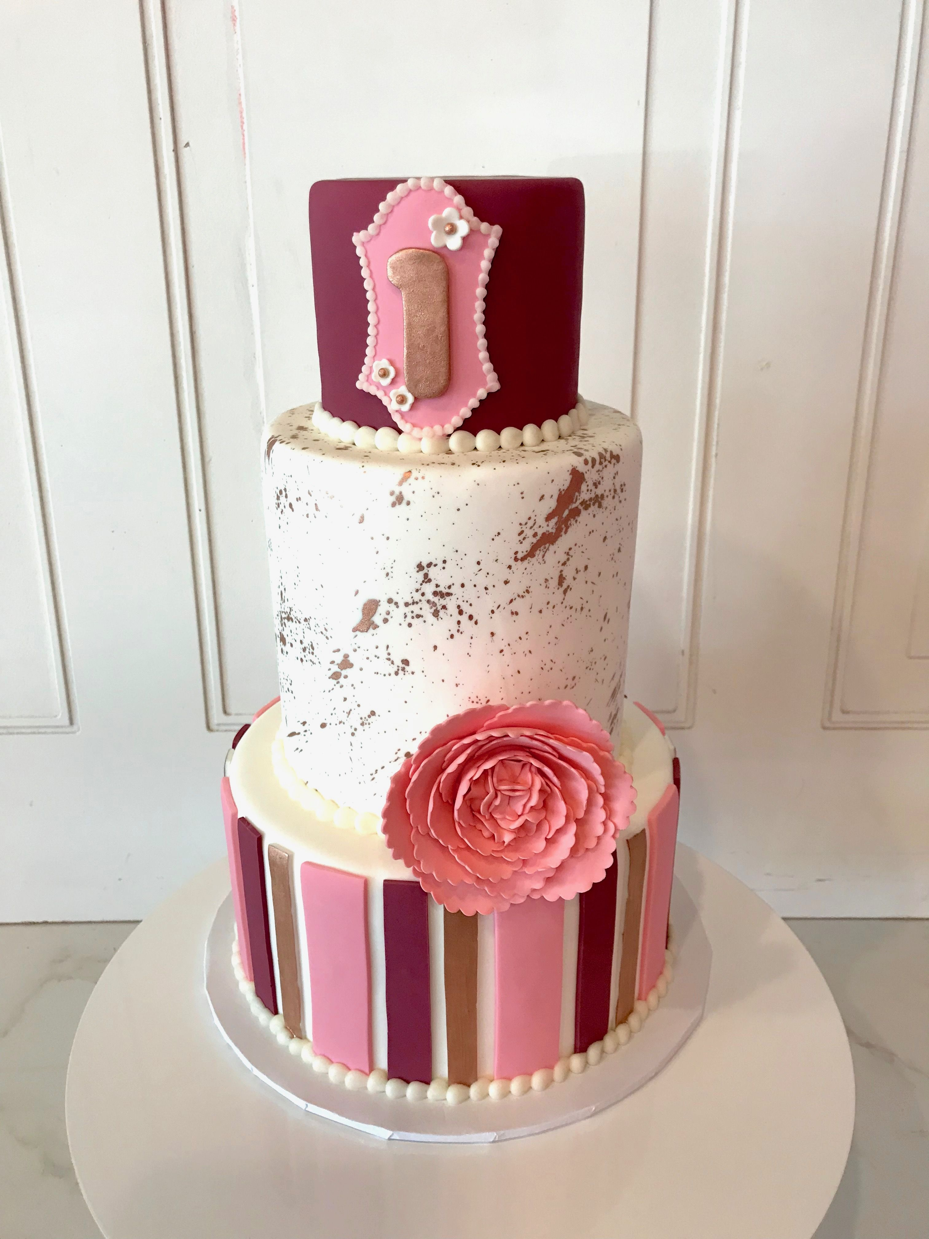 Stupendous 3 Tier First Birthday Cake In Shades Of Pink White And Gold By 3 Personalised Birthday Cards Paralily Jamesorg