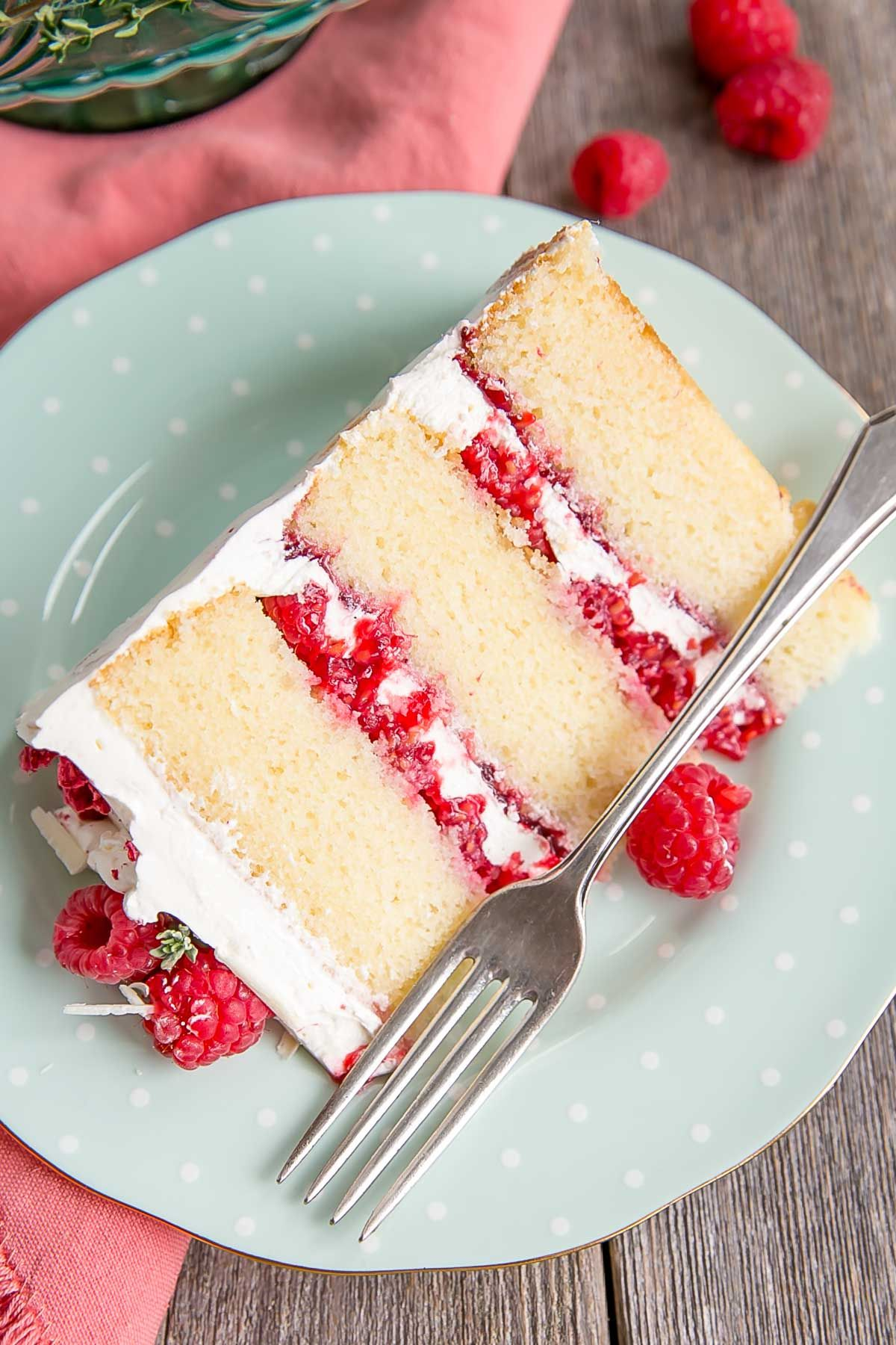 This White Chocolate Raspberry Cake Combines White