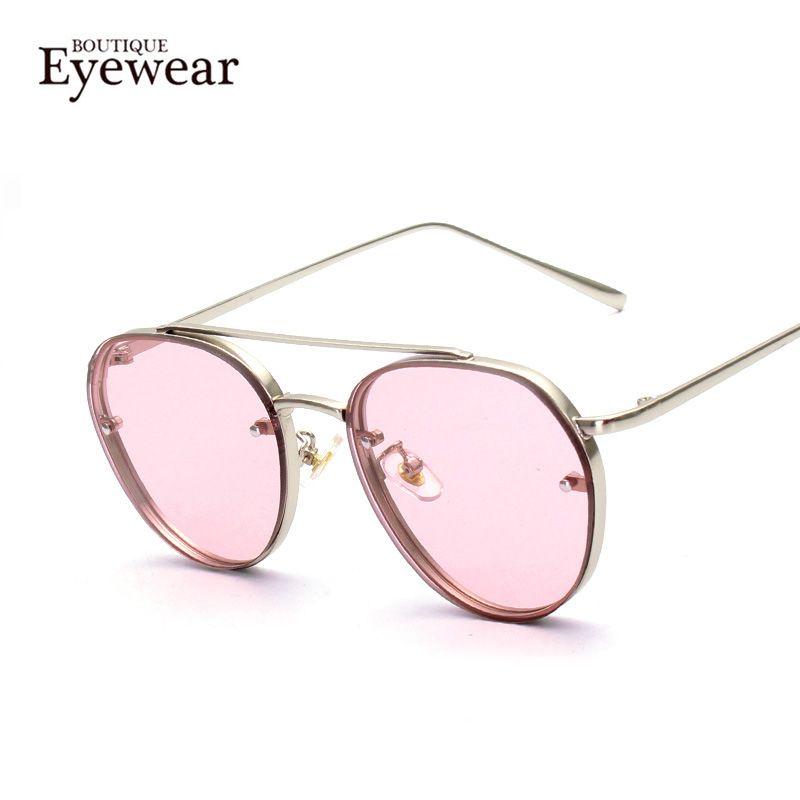 Quality Damen Mode Rund Flach Verspiegelte Linse Katzenaugen Sonnenbrille urDTSWl1