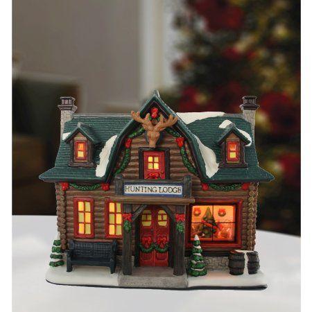 Holiday Time Porcelain Hunting Lodge Christmas Decoration Walmart Com