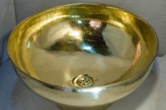 Photo of Vessel sink kitchen plumbing faucet brass bathroom sink