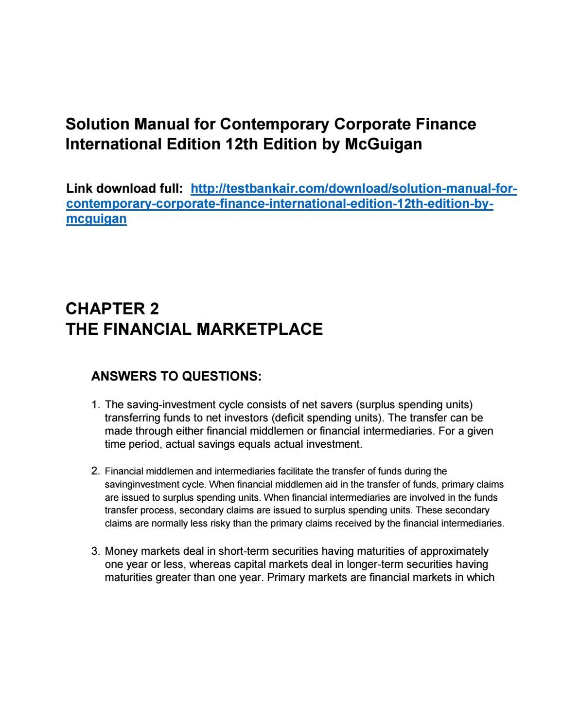 Contemporary Corporate Finance International Edition 12th Edition Solutions  Manual by McGuigan