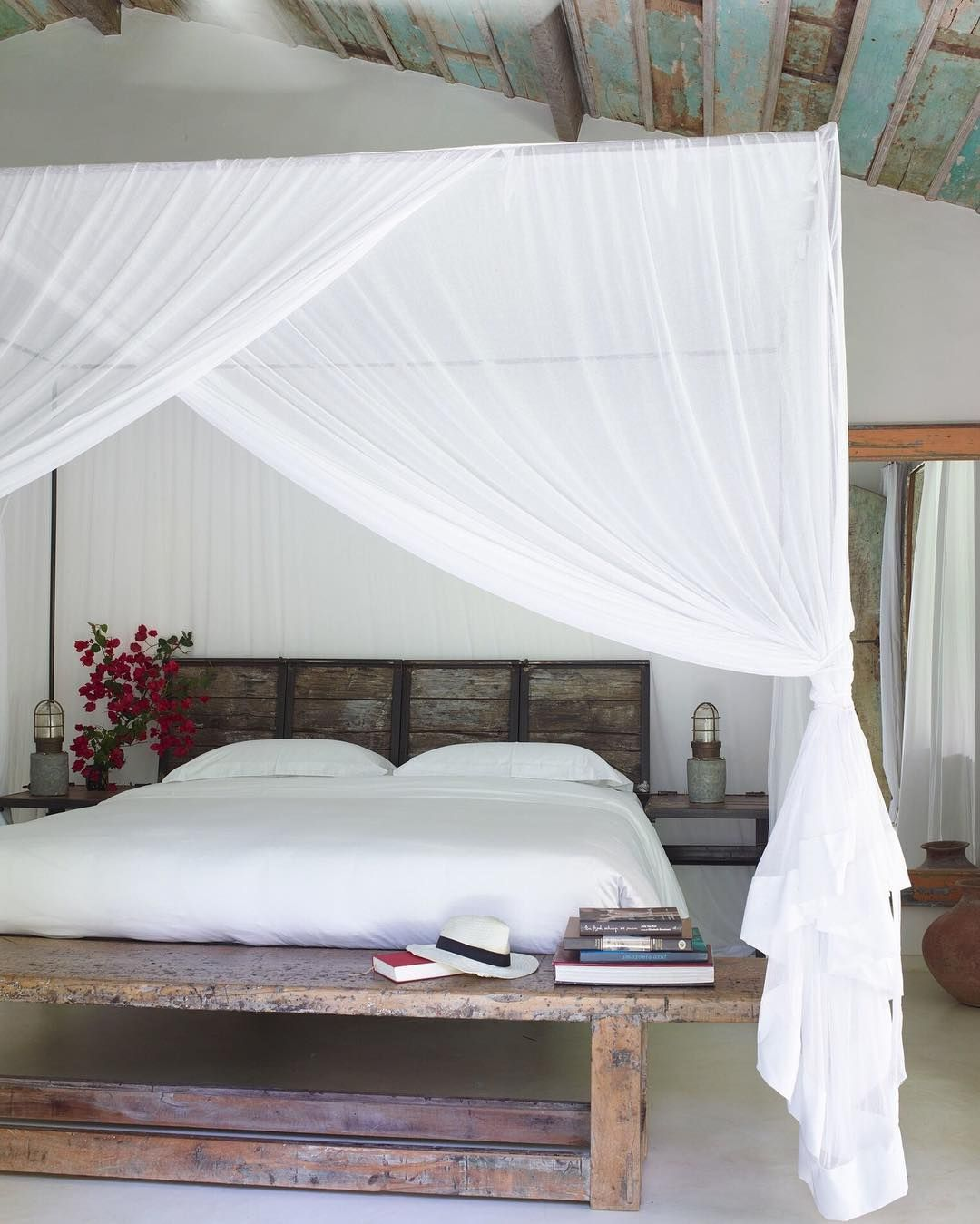 Rustic and coastal bedroom inspiration. Love the curtained