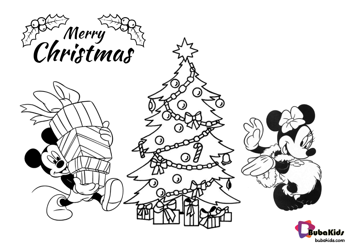 Mickey And Minnie Mouse Christmas Coloring Pages Collection Of Cartoon C Printable Christmas Coloring Pages Christmas Tree Coloring Page Disney Coloring Pages
