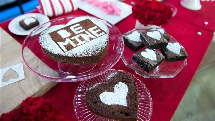 Justin Chapple of Food & Wine's Mad Genius Tips, shares five fun food hacks for Valentine's Day: Heart-stenciled brownies via TODAY, February 13 2017.