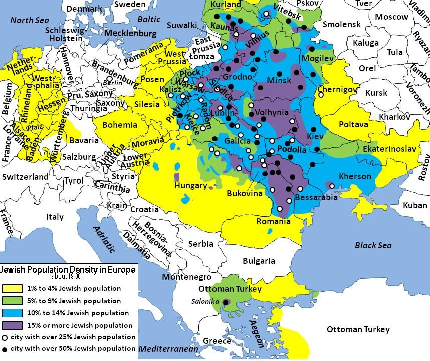 Jewish Population Density In Europe In 1900