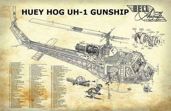 Blueprint art of helicopter huey vietnam helicopter technical blueprint art malvernweather Gallery