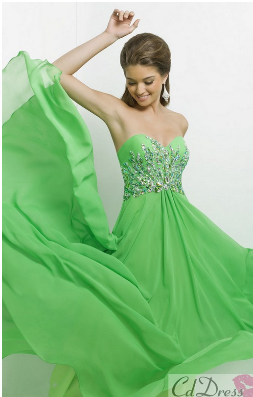 Long, green, sparkly dress