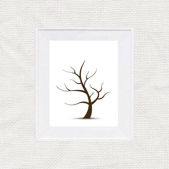 Diy Fingerprint Tree Guest Book Template  Instant Download Pdf