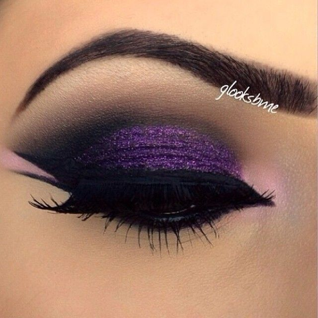 LOVE!!!! ♥ Purple Glitter and Black Smokey Eye Makeup - Double Winged Eyeliner - Brows. Just remove the fake lashes