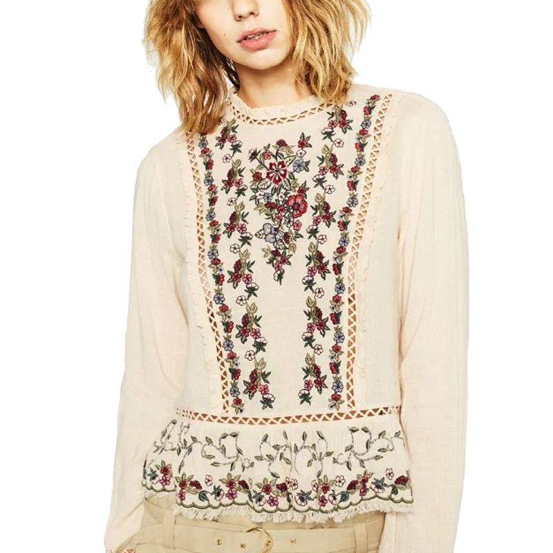 fd5aad74e8737c Click to Buy << Women Beige Floral Embroidery Lace Stitching Blouses Female  Elegant O-Neck Long Sleeve Shirt High Quality Tops Blusas Femininas  #Affiliate