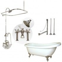$1486.00 @ vintagetubs.com- Randolph Morris 67 inch Acrylic Slipper Tub and Shower Package