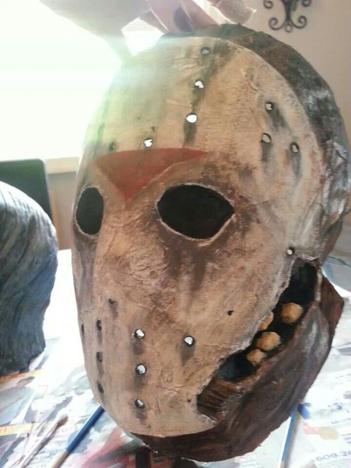 Not to bad for my first time making and paper mache mask super strong 5 different mediums and - Masque papier mache ...