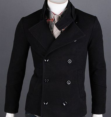 wedding suits mens pea coats winter coats for men black peacoat ...