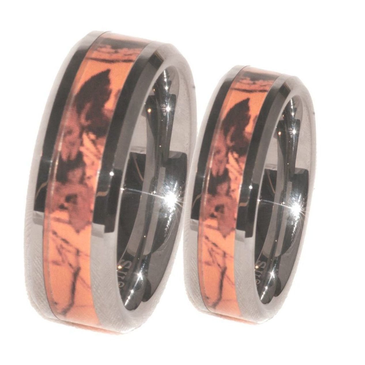 Orange Camouflage Couples Promise Christmas Gift Anniversary Or Wedding Rings Camo Wedding Rings Hunting Wedding Rings Rose Gold Diamond Ring Engagement