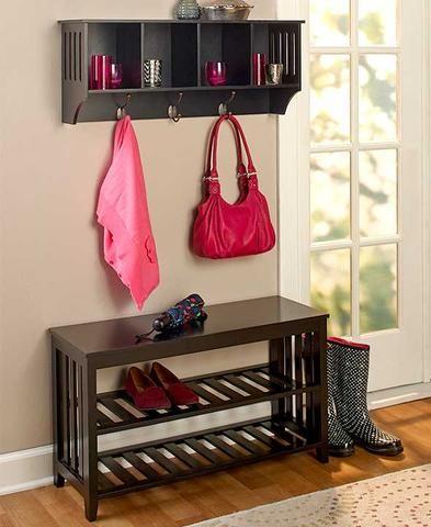 Entryway Hall Bench Shelf Storage Unit Foyer Mudroom Organize Rack Black  White