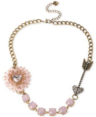 Betsey Johnson Gold-Tone Woven Pink Beaded Heart Frontal Necklace | macys.com