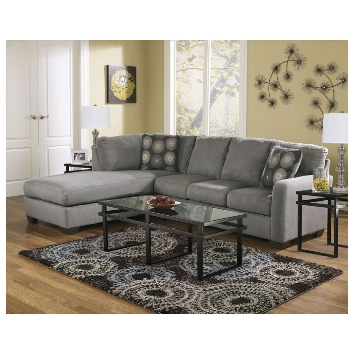 Ashley Furniture 2 Pc Zella Collection Charcoal Plush Fabric Upholstered Sectional  Sofa With Chaise   Pricefalls