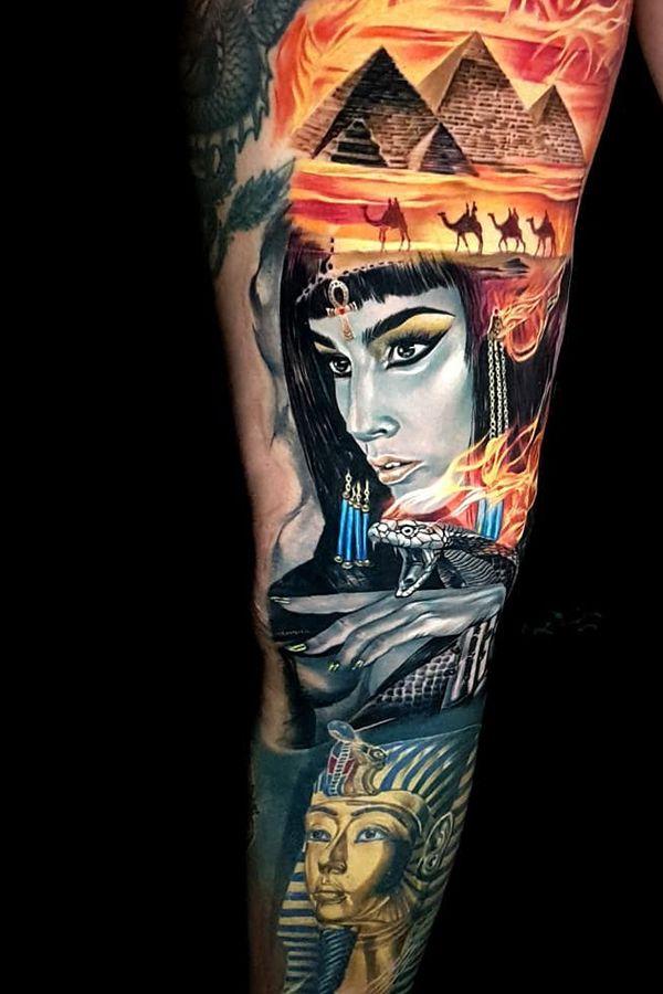Cleopatra Tattoos By Akbar Tawakkal Kuta Indonesia Cleopatra Tattoo Egyptian Tattoo Sleeve Egyptian Tattoo