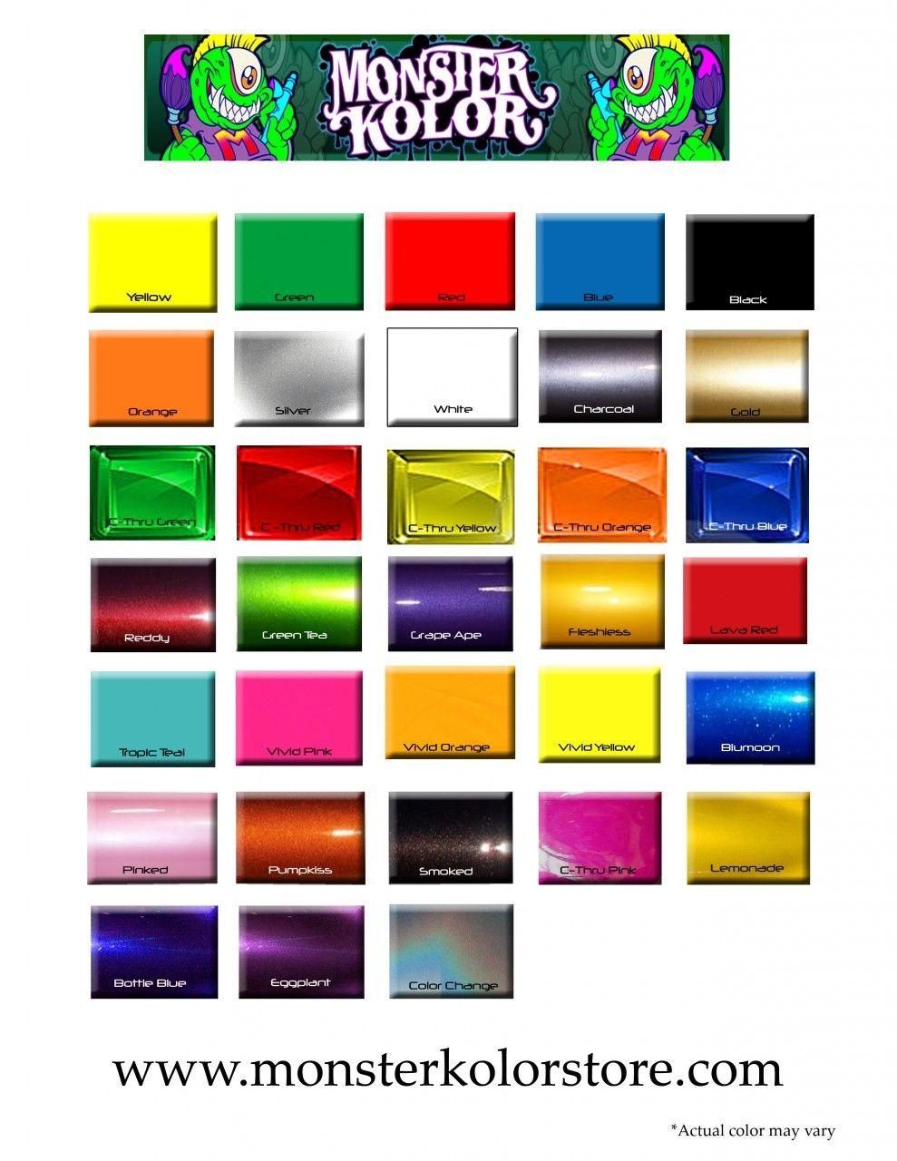 Color Chart Monster Kolor Products Pinterest