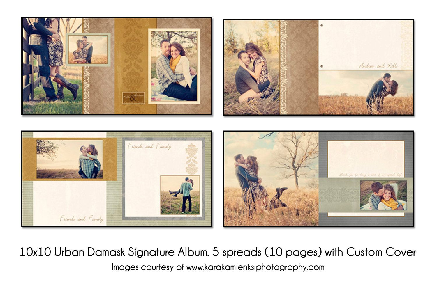 PSD Wedding Album Template - Urban Damask - 12x12 Guest Book - 5 spread (10 page) design with custom cover. $25.00, via Etsy.