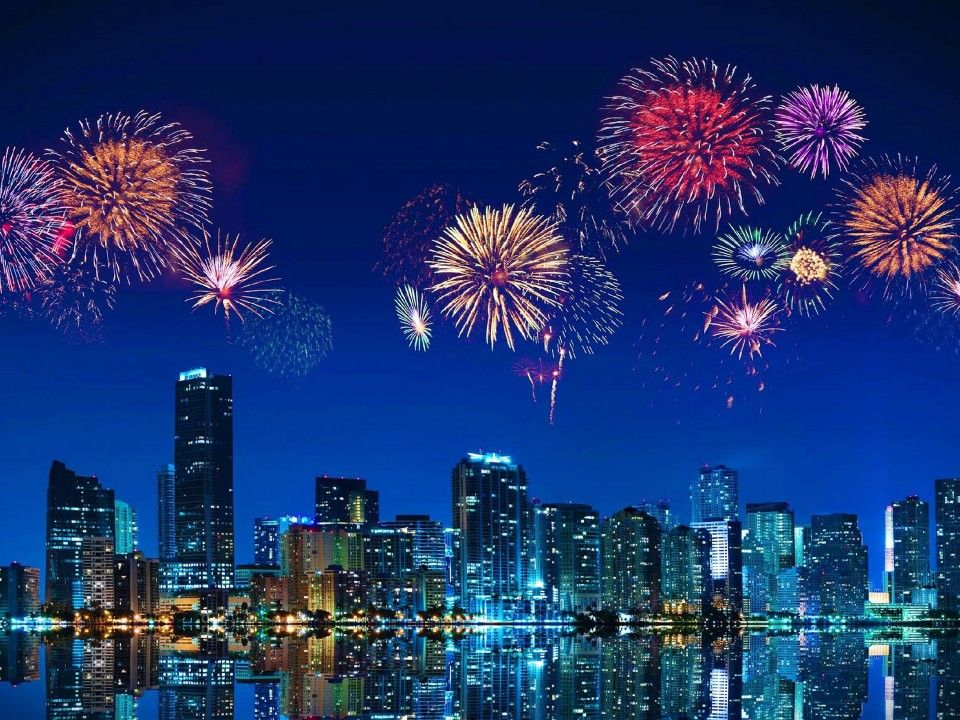 New Year's Eve, Miami skyline New year fireworks