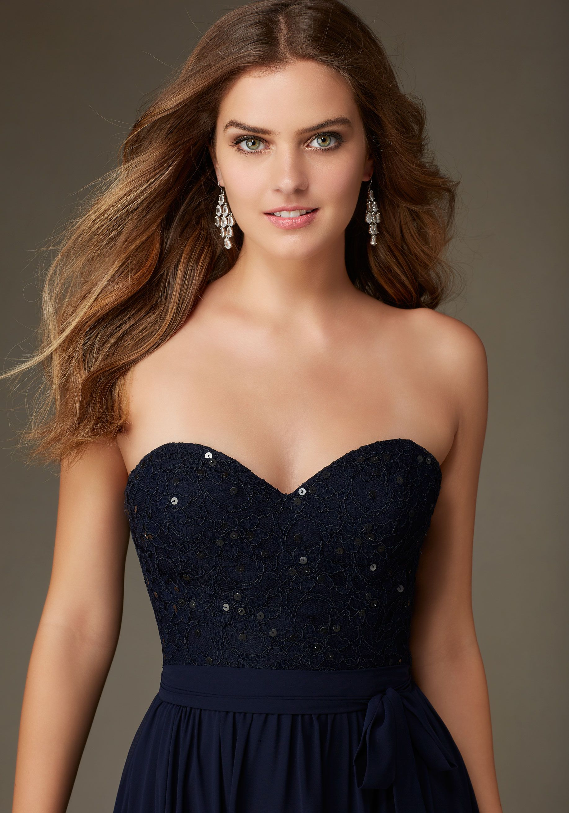Beaded lace bridesmaid dress with a sweetheart neckline designed by