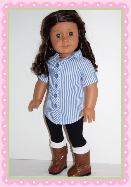 Classic pin stripes get dolled up. Gorgeous detailed fitted tunic. Black thick knit leggings.  White knee high socks