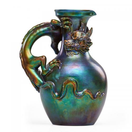 ZSOLNAY Pitcher With Dragon