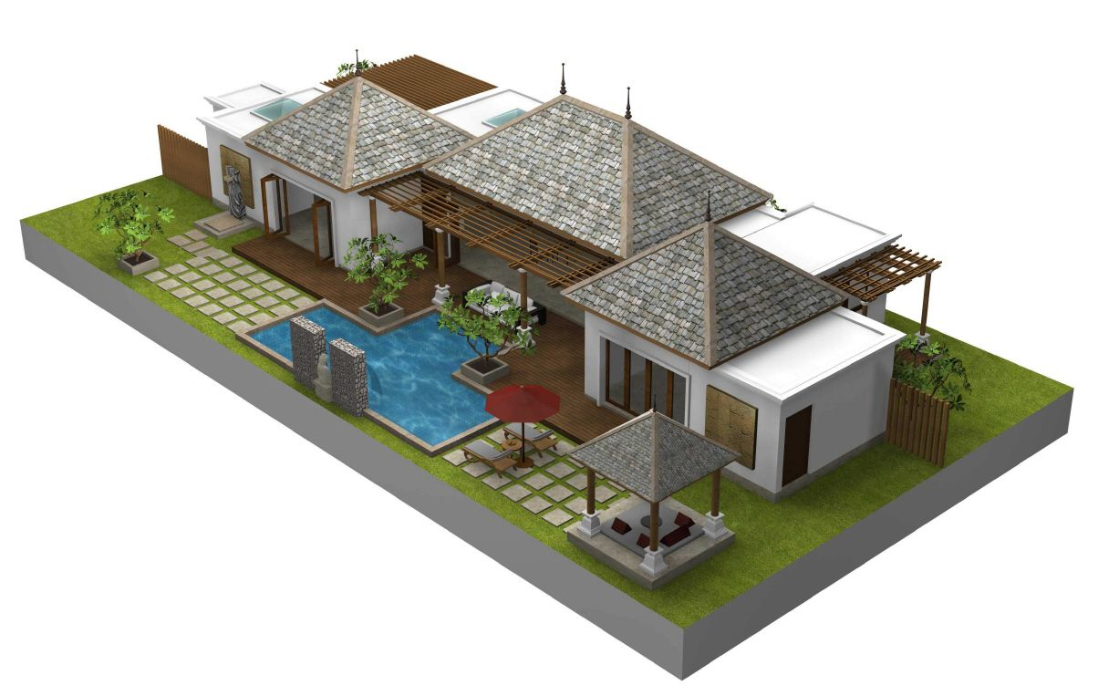 Bali style house floor plans styles of homes with for Villa architecture design plans