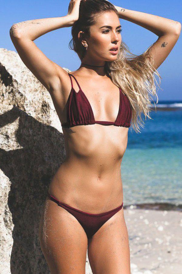 4164466f26 Women Solid Color Strappy Sexy Two Piece Micro Bikini Swimsuit - Dark Red, S