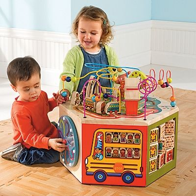 Toddler Activity Center, Wood Activity Cube One Step Ahead Baby