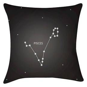 "Black Zodiac Constellations Pisces Throw Pillow (16""x16"") - Surya : Target"