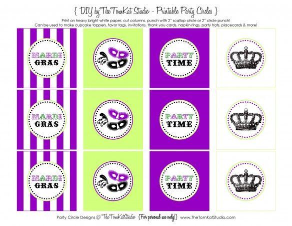 Free Printable Mardi Gras Party Circles The Tomkat Studio Blog Mardi Gras Party Mardi Gras Gras