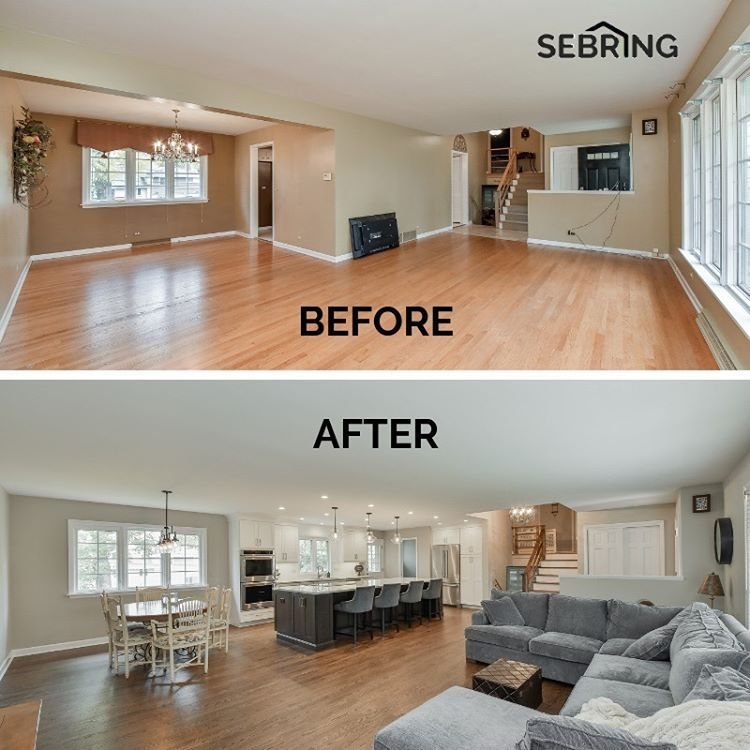 Before After We Remodeled This Kitchen And Living Room By Opening Up The Space And Turning It In Home Remodeling Living Room Remodel Living Room Floor Plans